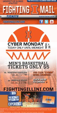 University of Illinois - Cyber Monday ticket promo code. Men's Basketball tickets only $5!