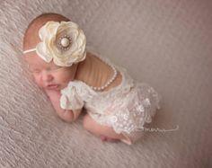 Cod 75 Newborn Lace Romper set. Newborn by 4LittlePrincessProps