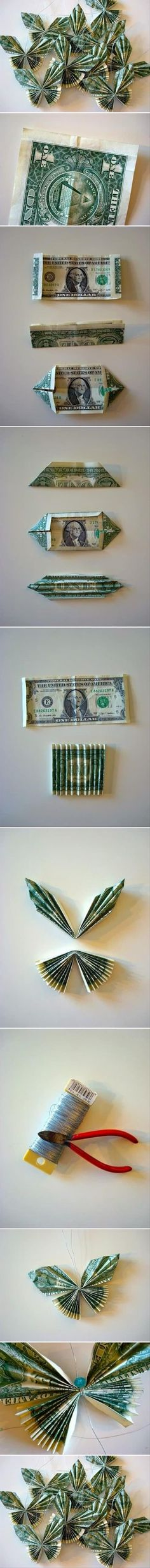 DIY Dollar Bill Butterfly - DIY Money Bill Butterfly – I don't know if I'. - DIY Dollar Bill Butterfly – DIY Money Bill Butterfly – I don't know if I'd do them with money or pretty craft paper but I like the look! Money Lei, Money Origami, Origami Paper, Diy Origami, Origami Tutorial, Origami Boxes, Dollar Origami, Origami Instructions, Diy Tutorial