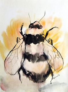 Bee watercolor painting, original artwork. Aquarelle art. Spring gift. 11x16 Water color drawing. A3 Water colour insect sketch. Watercolour