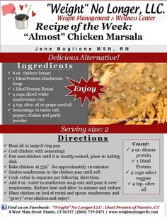 """Wednesday's Weekly Recipe: """"Almost"""" Chicken Marsala #WeightNoLonger #PhaseOneFriendly #Dinner #Recipes #Healthy"""