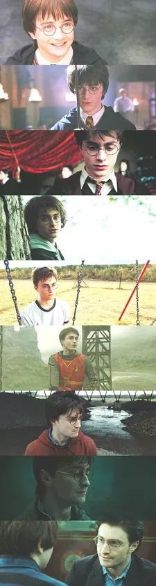 From top to bottom: Harry age 11, Harry 12, Harry 13, Harry 14, Harry 15, Harry…