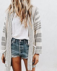 Cute striped cardigan over white tee and denim shorts.