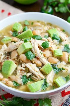 Quinoa White Chicken Chili:  1 tbsp oil, 1 onion, 2 jalapenos, 3 cloves garlic, 1 tsp cumin, 3 c chicken broth, 1 c salsa verde, 1 lb boneless skinless chicken breasts, 1 15 oz can white beans, 1/2 cup quinoa, 1/2 tsp oregano, 1 tbsp lime juice (~1/2 lime), 2 tbsp cilantro, salt, pepper, Option: Add 1 cup zucchini along with the chicken.
