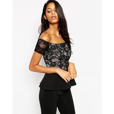 ASOS Peplum Top In Lace With Seam Detail ($38) ❤ liked on Polyvore featuring tops, black, zipper peplum top, black lace top, asos tops, off shoulder lace top and peplum tops