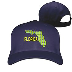 Florida Map Origami Baseball Adjustable Hats -- Click image for more details.