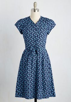 Take the Rains Dress in Clouds - Blue, Novelty Print, Print, Casual, A-line, Short Sleeves, Woven, Best, Long, Variation, Work