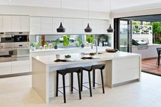 Spacing of kitchen, island and dining area.