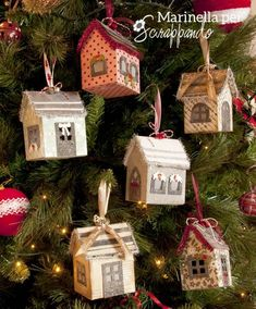 Holidays mini houses on the Xmas tree. Christmas Crafts To Make, Boxed Christmas Cards, Christmas Paper, Christmas Wrapping, Christmas Projects, Christmas Home, Christmas Decorations, Christmas Ornaments, Holiday Decor