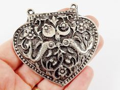 Large Heart Shield Necklace Pendant Connector by LylaSupplies
