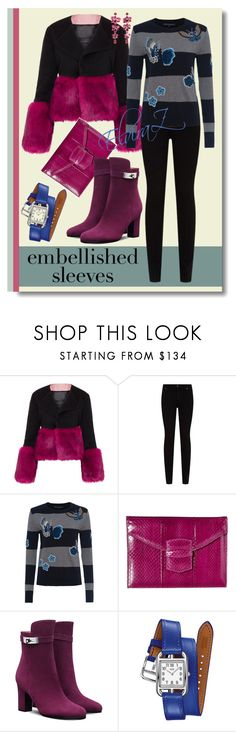 """""""Embellished sleeves"""" by elza76 ❤ liked on Polyvore featuring Vjera Vilicnik, Citizens of Humanity, French Connection, Oscar de la Renta, Hermès and Etro"""