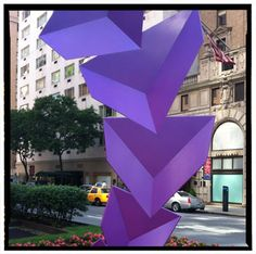 An amazingly trippy Rafael Barrios sculpture on Park Avenue—it is the most perfect neon purple ever, and beauty director Patricia Tortolani is now obsessed with finding a nail polish in this shade to paint on her toes.