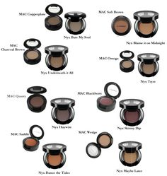 Mac Matte and Matte2 formula, and Nyx Nude Matte formula dupes  Mac Copperplate -> Nyx Bare My Soul  Mac Soft Brown -> Nyx Blame it on Midnight  Mac Charcoal Brown -> Nyx Underneath it All  Mac Omega -> Nyx Tryst Mac Quarry -> Nyx Haywire  Mac Blackberry -> Nyx Skinny Dip  Mac Saddle -> Nyx Dance The Tides Mac Wedge -> Nyx Maybe Later