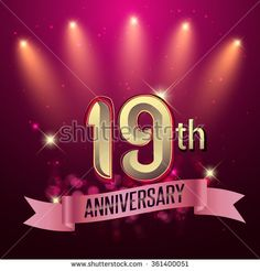 19th Anniversary, Party poster, banner or invitation - background glowing element. Vector Illustration. - stock vector