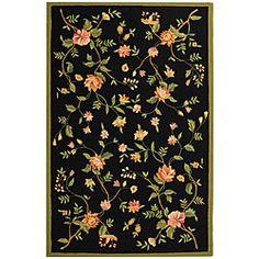 Hand-hooked Garden Black Wool Rug (5'3 x 8'3)