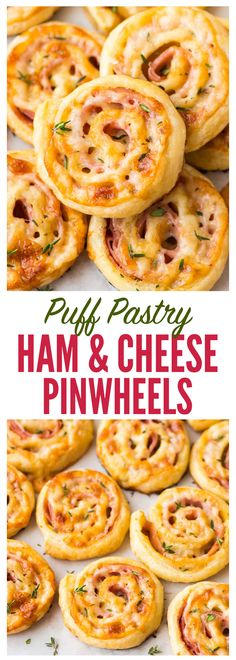 "Easy Ham and Cheese Pinwheels with Puff Pastry. Just FOUR ingredients! Everyone loves this simple and delicious appetizer recipe. Easy to make ahead and perfect for holiday parties too! Recipe at <a href=""http://wellplated.com"" rel=""nofollow"" target=""_blank"">wellplated.com</a> 