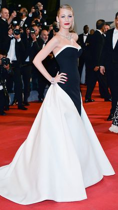 BLAKE LIVELY Talk about glamour! Lively wowed in a sweeping black and white Gucci Premiere gown.