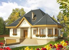 Projekt domu Tulipan G2 161,65 m² - koszt budowy - EXTRADOM My House Plans, Modern House Plans, Beautiful House Plans, Beautiful Homes, Small House Design, Modern House Design, Bungalow Style House, House With Porch, Dream House Exterior