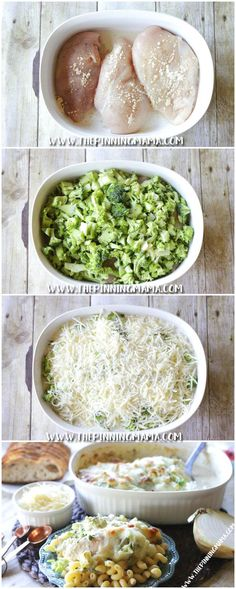 Broccoli Alfredo Chicken Bake Recipe: Easy + Delicious = Per Cheap Dinners, Easy Weeknight Dinners, Easy Meals, Vegan Dinners, Chicken Alfredo, Alfredo Sauce, Recipe Alfredo, Baked Chicken Recipes, Chicken Broccoli Bake