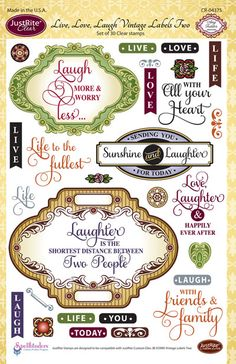 JustRite Papercraft CHA Winter Release - Live, Love, Laugh Vintage Labels Two