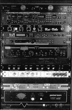 David Gilmore / 1. Furman PL-8 2. TC Electronics TC-2290 Digital Delay 3. Uni-Vibe 4. DigiTech ISP-33B Super Harmony pitch shifter 5. Lexicon PCM-70 digital effects processor 6. MXR Digital Delay System II 7. Phil Taylor rack unit with customized effects (left to right) - Electro Harmonix Electric Mistress - Boss CE2 chorus - Demeter Tremulator tremolo - Boss CE2 chorus 8. Dynacord CLS-222 Leslie simulator 9. Samson UR-5 UHF Dual wireless reciever 10. Peterson R450 Strobe tuner