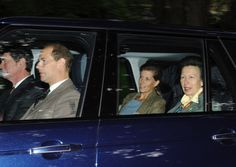 (L-R) Capt. Tim Laurence, Prince Edward, Sophie, Countess of Wessex and Princess Anne, at Crathie Kirk on 25 Aug 2013. They are currently staying with The Queen at Balmoral Castle.