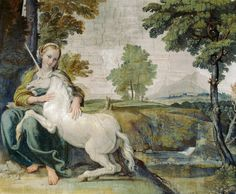 The girl and the Unicorn by Domenichino in 1602.