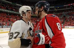 Sidney Crosby and Alex Ovechkin.  (Photo by Mitchell Layton/NHLI via Getty Images)
