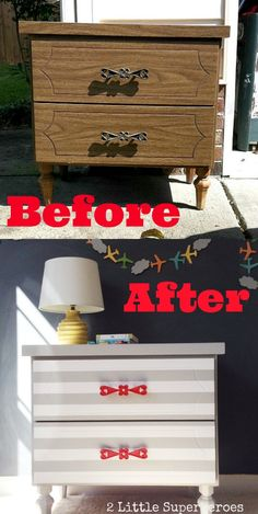 Easy step-by-step pictorial description on how to properly paint laminate furniture. Nightstand painted with grey stripes and red handles. Gorgeous striped nightstand makeover.