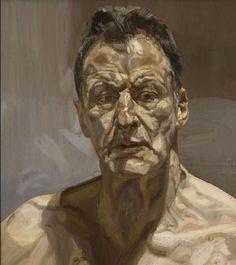'I've always wanted to create drama in my pictures, which is why I paint people. It's people who have brought drama to pictures from the beginning. The simplest human gestures tell stories.' Lucian Freud Self Portrait, (1985) #art #britain #painting