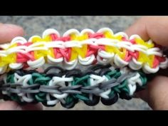 Rainbow Loom NINJA STAR Bracelet. Designed and loomed by Mario at OfficiallyLoomed. Click photo for YouTube tutorial. 02/03/14.