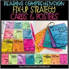 Reading Comprehension Fix-Up Strategy Cards. by The Creative Apple Teaching Resources Small Group Reading, Reading Groups, 3rd Grade Reading, Guided Reading, Comprehension Strategies, Reading Comprehension, Reading Conference, Make School, School Stuff