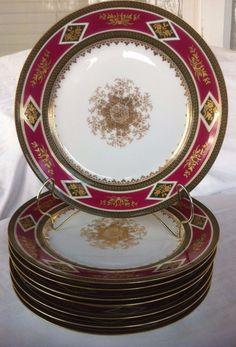 (8)  CH FIELD HAVILAND LIMOGES Magenta, Green &  Raised Gold DINNER PLATES #ChFieldHaviland