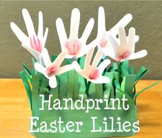 The same woman who told my MOPS group about her responsibility chart and dusting mitts, also told us about Handprint Easter Lilies. She quic...