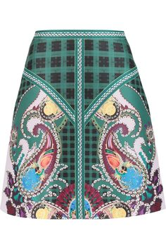 MARY KATRANTZOU Printed Satin-Twill Skirt. #marykatrantzou #cloth #skirt