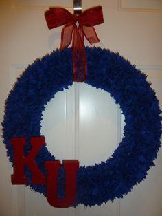 Kansas Jayhawks KU wreath by CreativeDesignsbyJ on Etsy, $75.00