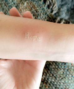 'Hope' white ink tattoo by Nikki Lynn