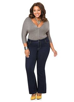 Fashion Women's Plus Size Flare Leg Denim Jean www.fashionbug.us #PlusSize #FashionBug #Jeans