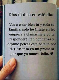 Dios i love you Faith Quotes, Bible Quotes, Bible Verses, Qoutes, Prayer Quotes, Spanish Inspirational Quotes, Spanish Quotes, Vie Positive, Spanish Prayers