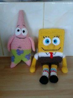 amigurumi patrick & spongebob hand made crochet Crochet Dolls, Crochet Baby, Bobe, Funny Toys, Yarn Projects, Amigurumi Toys, Spongebob, Baby Toys, My Design