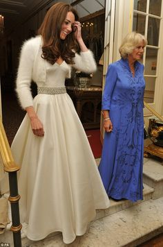 Kate, in her gown for the evening. Camilla Parker Bowles thought it was a slumber party and wore her housecoat.