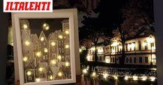 Lähes jokaisen tee se itse -ihmisen seinältä löytyy tänä syksynä valotaulu. Christmas Decorations, Christmas Tree, Holiday Decor, Cuadros Diy, Hobbies And Crafts, Projects To Try, Chandelier, Ceiling Lights, Lighting