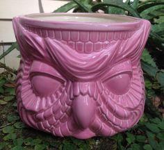 Owl planter garden pink retrohouse plant pot ceramic by muddyme