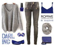 """Grey Sweater"" by kimzarad1 ❤ liked on Polyvore featuring Balmain, Joe's Jeans, OPI, Kate Spade, Eugenia Kim and River Island"