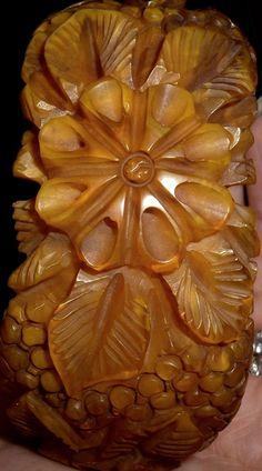 Heavily Carved Bakelite Bangle Bracelet