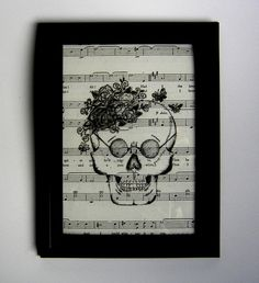 Skull picture female skeleton flowers fun black and white dia de los muertos festive handmade music sheet art print vintage wall art decor