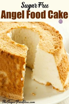 This is the perfect cake for about every kind of occasion. This is the recipe for how to make Sugar Free Angel Food Cake. Diabetic Desserts, Healthy Snacks For Diabetics, Diabetic Recipes, Low Carb Recipes, Desserts For Diabetics, Diabetic Cake, Sugar Free Deserts, Sugar Free Recipes, Sugar Free Angel Food Cake Recipe