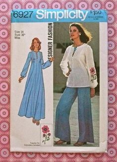 simplicity patterns for women | Simplicity 6927 - Vintage 1970s Womens Caftan Pattern with Blouse and ...