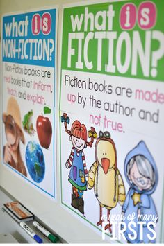 Kindergarten Library Posters For Fiction Library Posters, Reading Posters, Fiction Vs Nonfiction, Kindergarten Library, Library Lessons, Library Ideas, Math Lessons, Readers Workshop, Readers Notebook