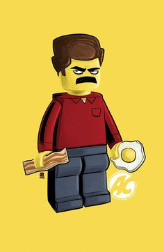 Lego Ron Swanson (For Parks and Rec lovers, brilliant show). Laughed when I saw it. I think he should have a sharp tool in one hand instead of the egg and maybe a bigger chunk of meat.